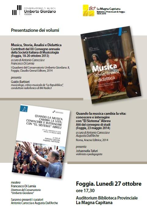 """Le novità editoriali del Conservatorio """"Umberto Giordano"""""""